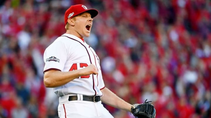 Oct 9, 2016; Washington, DC, USA; Washington Nationals relief pitcher Mark Melancon (43) celebrates after their win against the Los Angeles Dodgers during game two of the 2016 NLDS playoff baseball series at Nationals Park. The Washington Nationals won 5-2.Mandatory Credit: Brad Mills-USA TODAY Sports