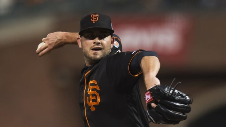 Apr 1, 2016; San Francisco, CA, USA; San Francisco Giants relief pitcher Chris Heston (53) throws a pitch against the Oakland A