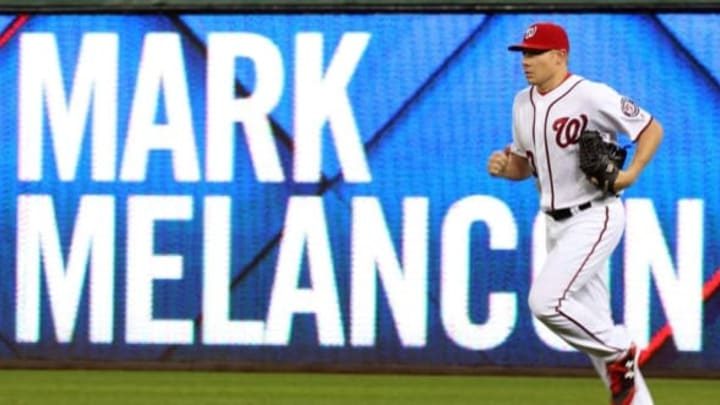 Oct 1, 2016; Washington, DC, USA; Washington Nationals relief pitcher Mark Melancon (43) jogs onto the field from the bullpen against the Miami Marlins in the eighth inning at Nationals Park. The Nationals won 2-1. Mandatory Credit: Geoff Burke-USA TODAY Sports