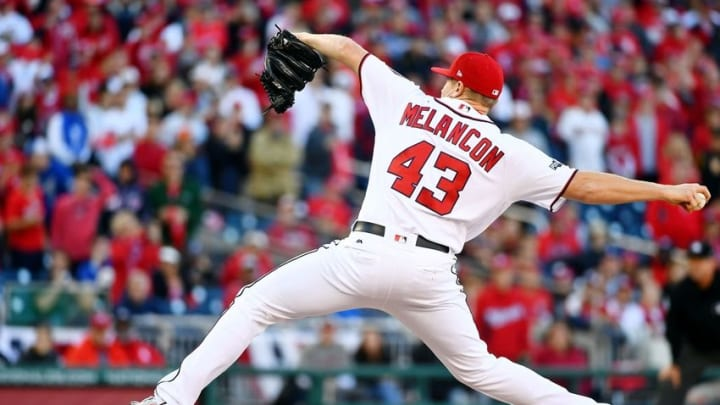 Oct 9, 2016; Washington, DC, USA; Washington Nationals relief pitcher Mark Melancon (43) pitches against the Los Angeles Dodgers during the ninth inning during game two of the 2016 NLDS playoff baseball series at Nationals Park. Mandatory Credit: Brad Mills-USA TODAY Sports