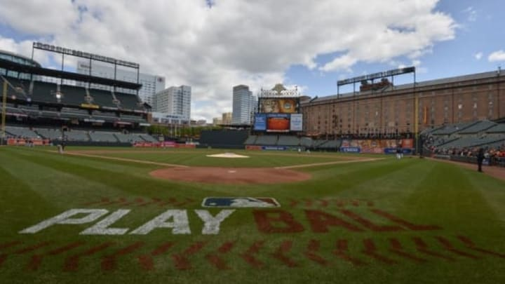 """May 15, 2016; Baltimore, MD, USA; A general view of the Major League Baseball """"Play Ball"""" logo on the field before the start of the game between the Baltimore Orioles and the Detroit Tigers at Oriole Park at Camden Yards. Mandatory Credit: Tommy Gilligan-USA TODAY Sports"""
