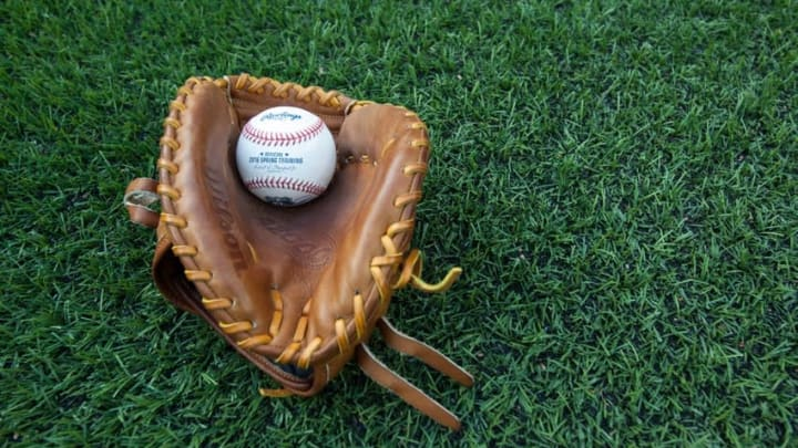 May 27, 2016; Toronto, Ontario, CAN; Ball and glove on the field during batting practice prior MLB game between the Boston Red Sox and Toronto Blue Jays the at Rogers Centre. Mandatory Credit: Kevin Sousa-USA TODAY Sports