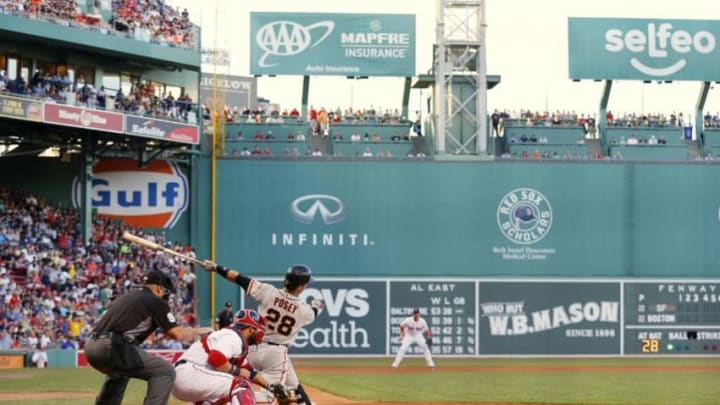 Jul 19, 2016; Boston, MA, USA; San Francisco Giants catcher Buster Posey (28) swings during the second inning against the Boston Red Sox at Fenway Park. Mandatory Credit: Winslow Townson-USA TODAY Sports