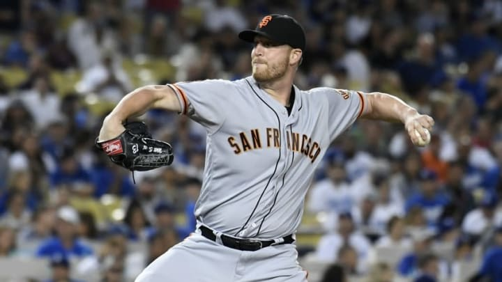 Aug 24, 2016; Los Angeles, CA, USA; San Francisco Giants relief pitcher Will Smith (13) throws against the Los Angeles Dodgers in the seventh inning at Dodger Stadium. Mandatory Credit: Richard Mackson-USA TODAY Sports