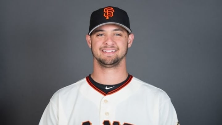 February 28, 2016; Scottsdale, AZ, USA; San Francisco Giants starting pitcher Tyler Beede (63) poses for a picture during photo day at Scottsdale Stadium. Mandatory Credit: Kyle Terada-USA TODAY Sports