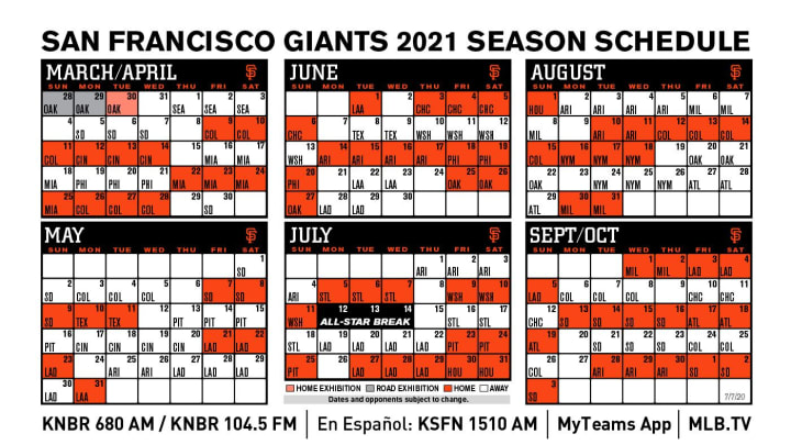 SF Giants 2021 schedule