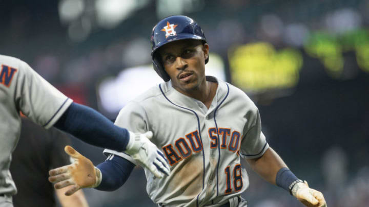 SEATTLE, WA - JULY 31: Tony Kemp #18 of the Houston Astros is greeted by Alex Bregman #2 after scoring on a hit by Josh Reddick #22 in the fifth inning against the Seattle Mariners at Safeco Field on July 31, 2018 in Seattle, Washington. (Photo by Lindsey Wasson/Getty Images)