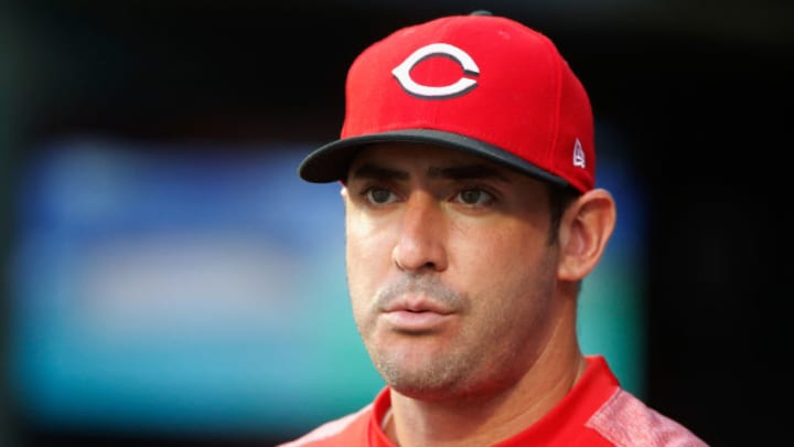 NEW YORK, NY - AUGUST 06: Matt Harvey #32 of the Cincinnati Reds looks on from the dugout during the first inning against the New York Mets at Citi Field on August 6, 2018 in the Flushing neighborhood of the Queens borough of New York City. (Photo by Jim McIsaac/Getty Images)