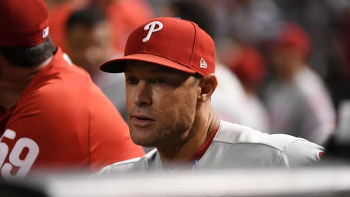 PHOENIX, AZ - AUGUST 06: Manager Gabe Kapler #22 of the Philadelphia Phillies looks on from the top step of the dugout against the Arizona Diamondbacks during the second inning at Chase Field on August 6, 2018 in Phoenix, Arizona. (Photo by Norm Hall/Getty Images)