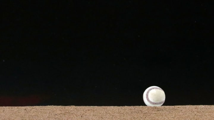 WASHINGTON, DC - AUGUST 21: A detailed view of a baseball on the pitching mound before the Philadelphia Phillies play the Washington Nationals at Nationals Park on August 21, 2018 in Washington, DC. (Photo by Patrick Smith/Getty Images)