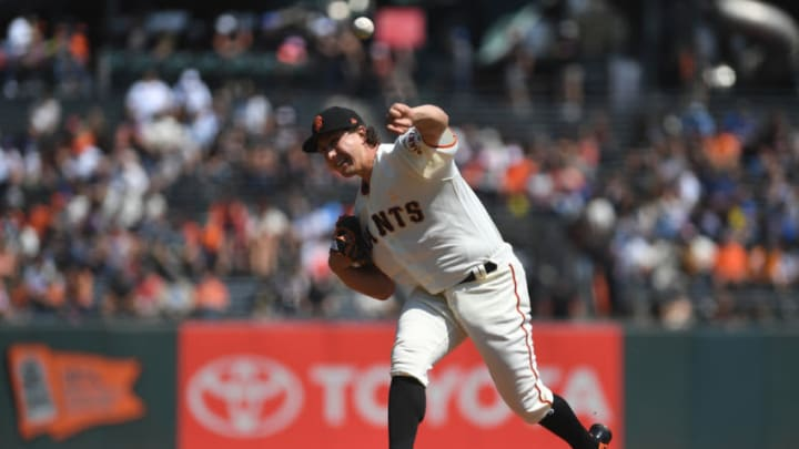 SAN FRANCISCO, CA - SEPTEMBER 01: Derek Holland #45 of the San Francisco Giants throws a pitch against the New York Mets during their MLB game at AT&T Park on September 1, 2018 in San Francisco, California. (Photo by Robert Reiners/Getty Images)