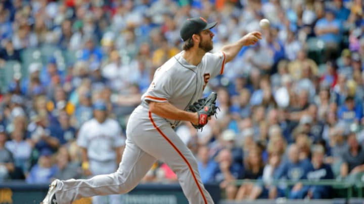 MILWAUKEE, WI - SEPTEMBER 09: Madison Bumgarner #40 of the San Francisco Giants pitches against the Milwaukee Brewers during the second inning at Miller Park on September 9, 2018 in Milwaukee, Wisconsin. (Photo by Jon Durr/Getty Images)
