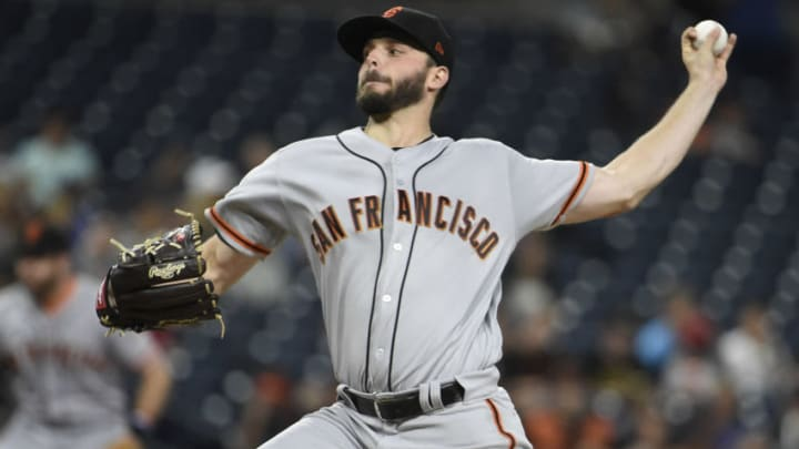 SAN DIEGO, CA - SEPTEMBER 17: Andrew Suarez #59 of the San Francisco Giants pitches during the first inning of a baseball game against the San Diego Padres at PETCO Park on September 17, 2018 in San Diego, California. (Photo by Denis Poroy/Getty Images)
