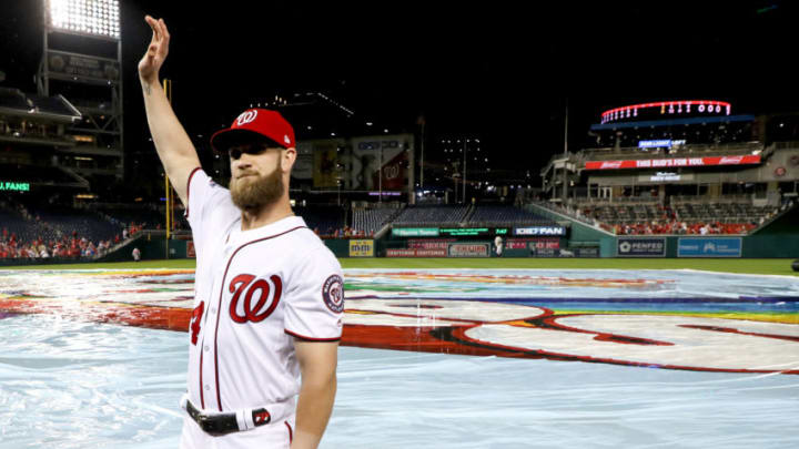WASHINGTON, DC - SEPTEMBER 26: Bryce Harper #34 of the Washington Nationals waves to the crowd following the Nationals 9-3 win over the Miami Marlins during their last home game of the year at Nationals Park on September 26, 2018 in Washington, DC. (Photo by Rob Carr/Getty Images)