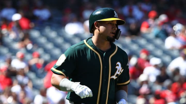 ANAHEIM, CA - SEPTEMBER 30: Franklin Barreto #1 of the Oakland Athletics runs to first base on his two-run home run during the sixth inning of the MLB game against the Los Angeles Angels of Anaheim at Angel Stadium on September 30, 2018 in Anaheim, California. (Photo by Victor Decolongon/Getty Images)