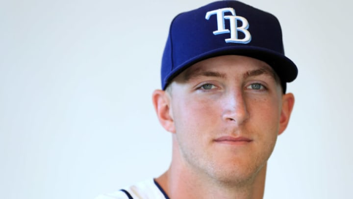 PORT CHARLOTTE, FLORIDA - FEBRUARY 17: Joe McCarthy #61 of the Tampa Bay Rays poses for a portrait during photo day on February 17, 2019 in Port Charlotte, Florida. (Photo by Mike Ehrmann/Getty Images)