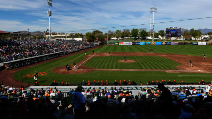 SCOTTSDALE, ARIZONA - FEBRUARY 25: An overall view of the spring training game between the Chicago White Sox and San Francisco Giants at Scottsdale Stadium on February 25, 2019 in Scottsdale, Arizona. (Photo by Jennifer Stewart/Getty Images)
