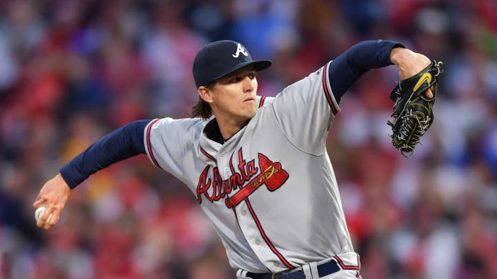 PHILADELPHIA, PA – MARCH 31: Starting pitcher Kyle Wright #65 of the Atlanta Braves delivers a pitch in the first inning against the Philadelphia Phillies at Citizens Bank Park on March 31, 2019 in Philadelphia, Pennsylvania. (Photo by Drew Hallowell/Getty Images)