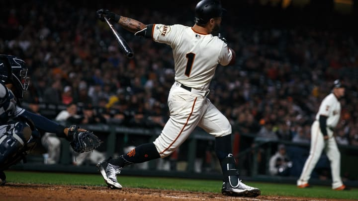 SAN FRANCISCO, CA – APRIL 08: Kevin Pillar #1 of the San Francisco Giants hits a grand slam home run against the San Diego Padres during the fourth inning at Oracle Park on April 8, 2019 in San Francisco, California. The San Diego Padres defeated the San Francisco Giants 6-5. (Photo by Jason O. Watson/Getty Images)