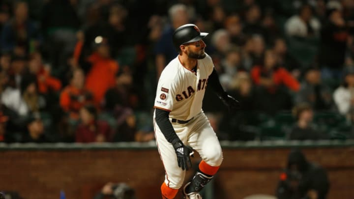 SAN FRANCISCO, CA - APRIL 11: Kevin Pillar #1 of the San Francisco Giants hits a solo home run in the bottom of the seventh inning against the Colorado Rockies at Oracle Park on April 11, 2019 in San Francisco, California. (Photo by Lachlan Cunningham/Getty Images)