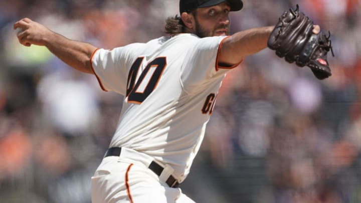 SAN FRANCISCO, CA - APRIL 13: Madison Bumgarner #40 of the San Francisco Giants pitches against the Colorado Rockies in the top of the first inning during a Major League baseball game at Oracle Park on April 13, 2019 in San Francisco, California. (Photo by Thearon W. Henderson/Getty Images)
