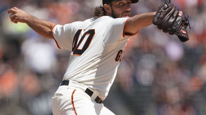 SAN FRANCISCO, CA – APRIL 13: Madison Bumgarner #40 of the San Francisco Giants pitches against the Colorado Rockies in the top of the first inning during a Major League baseball game at Oracle Park on April 13, 2019 in San Francisco, California. (Photo by Thearon W. Henderson/Getty Images)