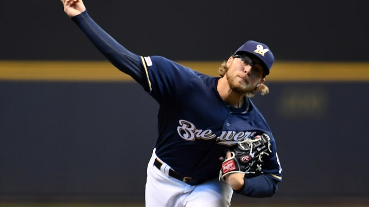 MILWAUKEE, WISCONSIN – MARCH 31: Corbin Burnes #39 of the Milwaukee Brewers throws a pitch during the first inning of a game against the St. Louis Cardinals at Miller Park on March 31, 2019 in Milwaukee, Wisconsin. (Photo by Stacy Revere/Getty Images)