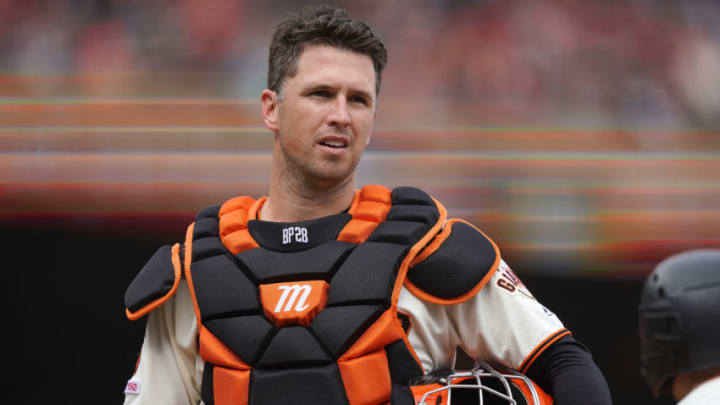SAN FRANCISCO, CA - APRIL 05: Buster Posey #28 of the San Francisco Giants looks on against the Tampa Bay Rays in the top of the seventh inning of a Major League Baseball game on Opening Day at Oracle Park on April 5, 2019 in San Francisco, California. (Photo by Thearon W. Henderson/Getty Images)