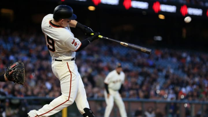 SAN FRANCISCO, CALIFORNIA - APRIL 09: Tyler Austin #19 of the San Francisco Giants hits an RBI single during the second inning against the San Diego Padres at Oracle Park on April 09, 2019 in San Francisco, California. (Photo by Daniel Shirey/Getty Images)