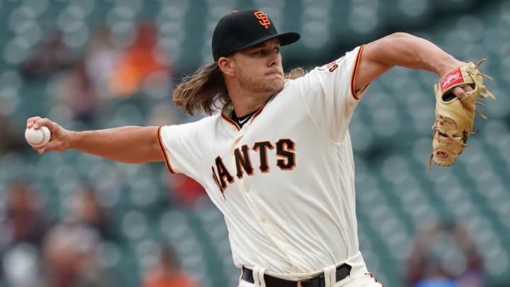SAN FRANCISCO, CA - MAY 15: Shaun Anderson #64 of the San Francisco Giants making his Major League debut pitches against the Toronto Blue Jays in the top of the first inning at Oracle Park on May 15, 2019 in San Francisco, California. (Photo by Thearon W. Henderson/Getty Images)