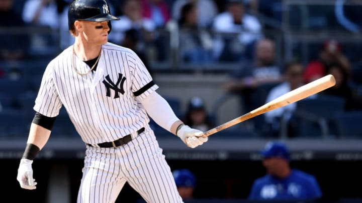 NEW YORK, NEW YORK - APRIL 21: Clint Frazier #77 of the New York Yankees prepares to bat during the ninth inning of the game against the Kansas City Royals at Yankee Stadium on April 21, 2019 in the Bronx borough of New York City. (Photo by Sarah Stier/Getty Images)