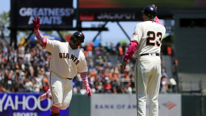 SAN FRANCISCO, CALIFORNIA - MAY 12: Pablo Sandoval #48 of the San Francisco Giants celebrates a two run home run during the first inning against the Cincinnati Reds at Oracle Park on May 12, 2019 in San Francisco, California. (Photo by Daniel Shirey/Getty Images)