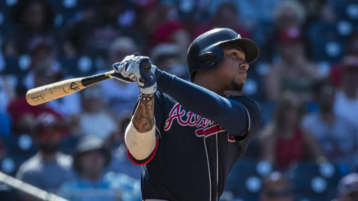 WASHINGTON, DC – JUNE 23: Johan Camargo #17 of the Atlanta Braves hits a two-run home run against the Washington Nationals during the tenth inning at Nationals Park on June 23, 2019 in Washington, DC. (Photo by Scott Taetsch/Getty Images)