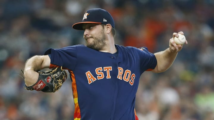 HOUSTON, TEXAS – JUNE 09: Wade Miley #20 of the Houston Astros pitches in the first inning against the Baltimore Orioles at Minute Maid Park on June 09, 2019 in Houston, Texas. (Photo by Bob Levey/Getty Images)
