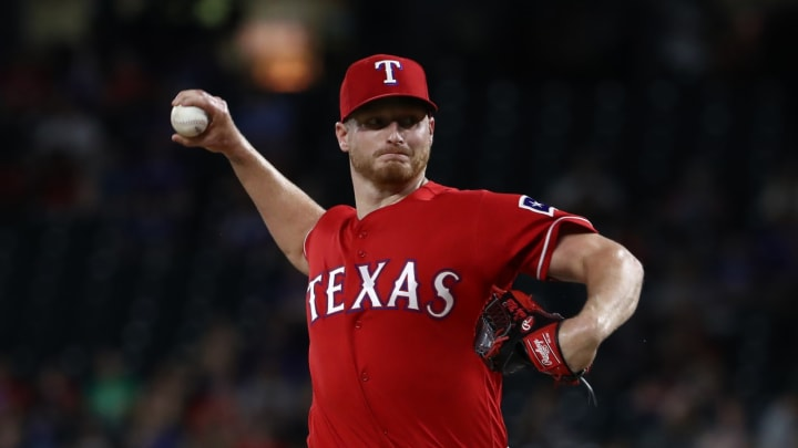 ARLINGTON, TEXAS – JUNE 19: Shelby Miller #19 of the Texas Rangers throws against the Cleveland Indians in the eighth inning at Globe Life Park in Arlington on June 19, 2019 in Arlington, Texas. (Photo by Ronald Martinez/Getty Images)