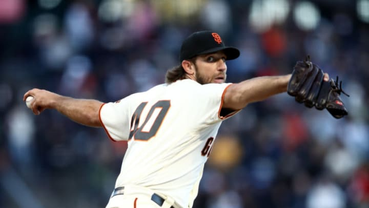 SAN FRANCISCO, CALIFORNIA - JUNE 25: Madison Bumgarner #40 of the San Francisco Giants pitches against the Colorado Rockies in the third inning at Oracle Park on June 25, 2019 in San Francisco, California. (Photo by Ezra Shaw/Getty Images)
