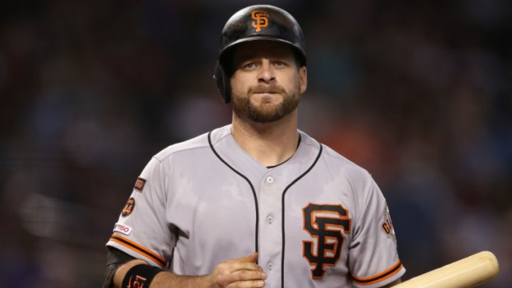 PHOENIX, ARIZONA - JUNE 23: Stephen Vogt #21 of the San Francisco Giants bats against the Arizona Diamondbacks during the MLB game at Chase Field on June 23, 2019 in Phoenix, Arizona. The Diamondbacks defeated the Giants 3-2 in 10 innings. (Photo by Christian Petersen/Getty Images)