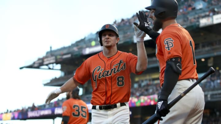 SAN FRANCISCO, CALIFORNIA - JUNE 28: Alex Dickerson #8 of the San Francisco Giants is congratulated by Kevin Pillar #1 after he hit a home run in the second inning against the Arizona Diamondbacks at Oracle Park on June 28, 2019 in San Francisco, California. (Photo by Ezra Shaw/Getty Images)