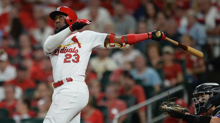 ST. LOUIS, MO – AUGUST 22: Marcell Ozuna #23 of the St. Louis Cardinals hits a two-run home run in the fourth inning against the Colorado Rockies at Busch Stadium on August 22, 2019 in St. Louis, Missouri. (Photo by Michael B. Thomas/Getty Images)
