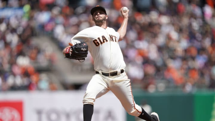 Giants pitcher Andrew Suarez. (Photo by Thearon W. Henderson/Getty Images)