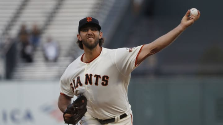 SAN FRANCISCO, CA - SEPTEMBER 09: Madison Bumgarner #40 of the San Francisco Giants delivers a pitch during the first inning against the Pittsburgh Pirates at Oracle Park on September 9, 2019 in San Francisco, California. (Photo by Stephen Lam/Getty Images)