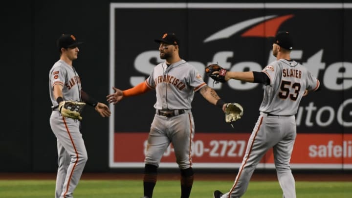 Giants outfielders Mike Yastrzemski, Kevin Pillar and Austin Slater. (Photo by Norm Hall/Getty Images)