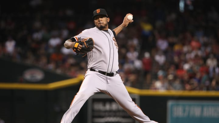 PHOENIX, ARIZONA – AUGUST 18: Relief pitcher Fernando Abad #50 of the San Francisco Giants pitches against the Arizona Diamondbacks during the sixth inning of the MLB game at Chase Field on August 18, 2019 in Phoenix, Arizona. (Photo by Christian Petersen/Getty Images)