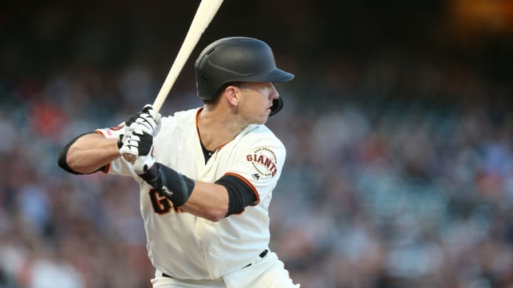 Buster Posey of the San Francisco Giants may have his Hall of Fame chances hurt by the MLB shutdown. (Photo by Ezra Shaw/Getty Images)