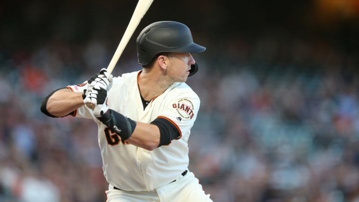 SAN FRANCISCO, CALIFORNIA – AUGUST 29: Buster Posey #28 of the San Francisco Giants bats against the San Diego Padres at Oracle Park on August 29, 2019 in San Francisco, California. (Photo by Ezra Shaw/Getty Images)