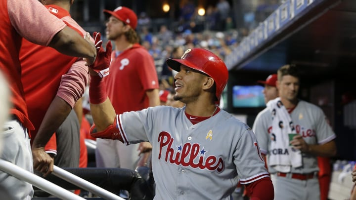 NEW YORK, NEW YORK – SEPTEMBER 07: Cesar Hernandez #16 of the Philadelphia Phillies celebrates his first inning home run against the New York Mets with his teammates in the dugout at Citi Field on September 07, 2019 in New York City. (Photo by Jim McIsaac/Getty Images)
