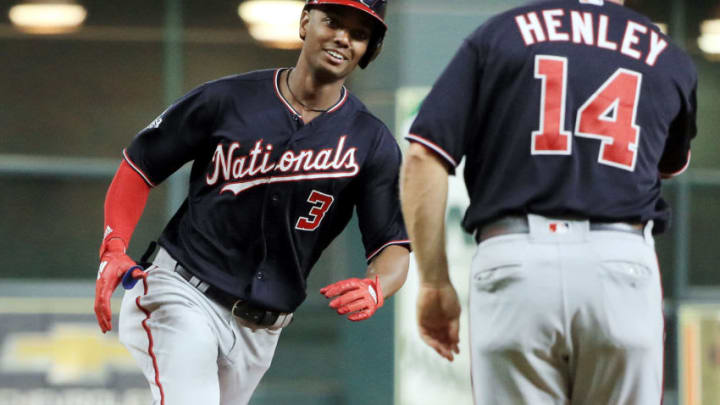 HOUSTON, TEXAS - OCTOBER 23: Michael A. Taylor #3 of the Washington Nationals hits a solo home run against the Houston Astros during the ninth inning in Game Two of the 2019 World Series at Minute Maid Park on October 23, 2019 in Houston, Texas. (Photo by Mike Ehrmann/Getty Images)