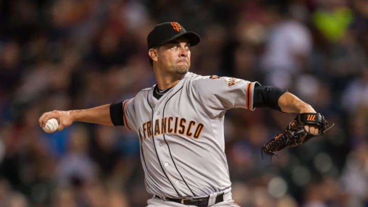 DENVER, CO - SEPTEMBER 3: Ryan Vogelsong #32 of the San Francisco Giants pitches against the Colorado Rockies in the fourth inning of a game at Coors Field on September 3, 2015 in Denver, Colorado. (Photo by Dustin Bradford/Getty Images)