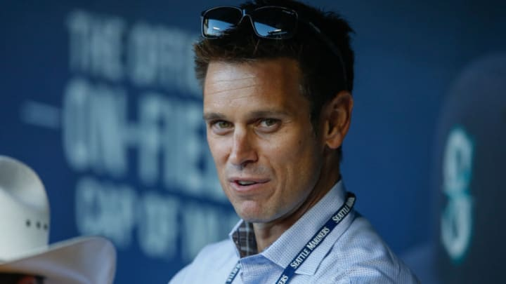 SEATTLE, WA - SEPTEMBER 30: GM Jerry Dipoto of the Seattle Mariners looks on from the dugout prior to the game against the Houston Astros at Safeco Field on September 30, 2015 in Seattle, Washington. (Photo by Otto Greule Jr/Getty Images)