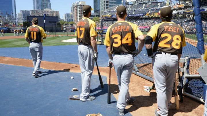 SAN DIEGO, CA - JULY 12: Kris Bryant #17 of the Chicago Cubs, Bryce Harper #34 of the Washington Nationals and Buster Posey #28 of the San Francisco Giants warm up prior to the 87th Annual MLB All-Star Game at PETCO Park on July 12, 2016 in San Diego, California. (Photo by Denis Poroy/Getty Images)